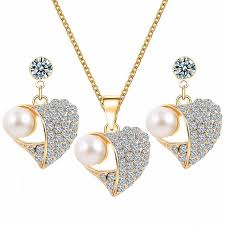 Set <b>Punk 2017 New Fashion</b> Necklace Peach Heart Pearl Crystal ...