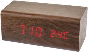 """<b>Часы</b>-будильник <b>Perfeo</b> """"<b>Block</b>"""" PF-S718T (коричневый, красный ..."""