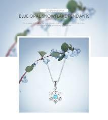 <b>LicLiz 925 Sterling Silver</b> Natural Blue Opal Snowflake Pendant ...