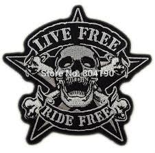 3.9 Live Free Ride Free Biker Vest Tattoo Cool Applique <b>Iron On</b> ...