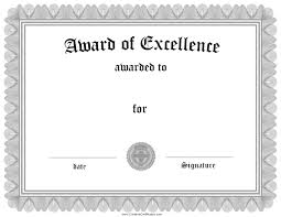 inspirational certificate or award of excellence template design nice award of excellence template sample in black and white color a part of certificate of