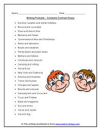 compare contrast essay writing prompts click to print