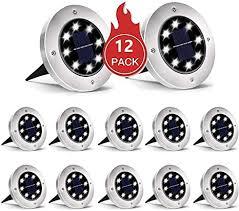 INCX Solar Ground Lights, 12 Packs 8 LED Solar ... - Amazon.com