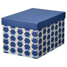 <b>TJENA ТЬЕНА</b> Коробка с крышкой, синий/с рисунком, 18x25x15 ...