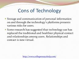 cons of technology essay   essay topicspros and cons about technology essay image