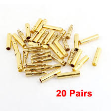 MYLB <b>20 Pairs Gold Tone</b> Metal RC Banana Bullet Plug Connector ...