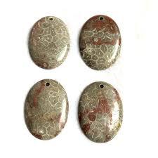 <b>2pcs</b>/<b>lot</b> Natural Coral Fossils Jaspe r Bead Pendant <b>30x40mm Oval</b> ...
