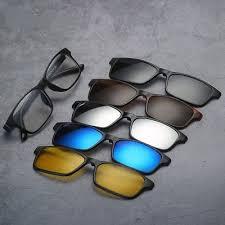 5 Pcs <b>Magnetic</b> Clip-on <b>Sunglasses Polarized</b> +1 <b>TR Glasses</b> ...