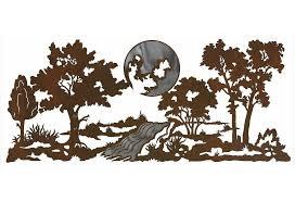 tree scene metal wall art: quot mountain scene with stream burnished metal wall art