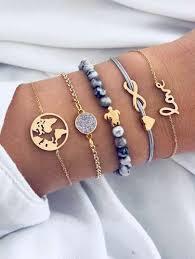 Infinity & Earth <b>Bracelet</b> Set <b>5pcs</b>   ROMWE