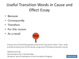 essay by anita j ghajar selim table of contents essay  useful transition words in cause and effect essay because consequently therefore for this reason as a
