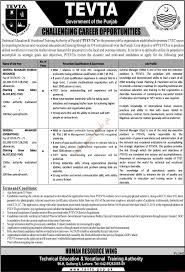 technical education vocational training authority of punjab jobs technical education vocational training authority of punjab jobs jang jobs ads 05 2016