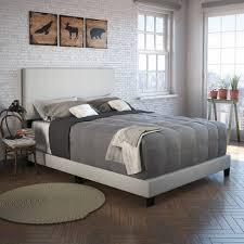 Full Monroe <b>Linen</b> Upholstered Platform <b>Bed Frame Light</b> Beige ...