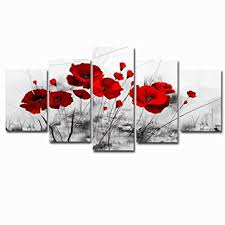 Abstract Flowers Painting Canvas Picture Art Black ... - Amazon.com