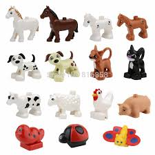 Animals Building Blocks Dog Cat Cow Sheep Cock Pig <b>Butterfly</b> ...