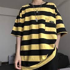 Online Shop Pockets Striped Letter Print Oversized <b>Summer T shirt</b> ...