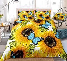Butterfly Bedding Blue Yellow Sunflower Duvet Cover ... - Amazon.com
