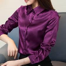 Stinlicher Satin Silk Shirt <b>Women Autumn Long Sleeve</b> Elegant Work ...