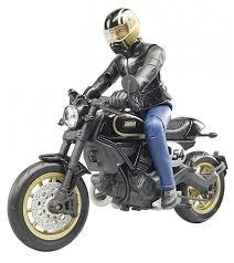 <b>Мотоцикл Bruder Scrambler Ducati</b> Cafe Racer с мотоциклистом ...