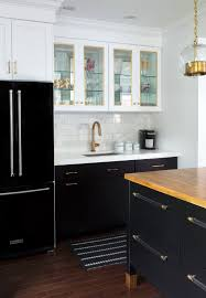 Kitchen Without Upper Cabinets Black Refrigerator With Black Base Cabinets And White Upper