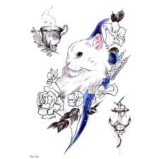 5pcs Cat And Flower <b>Waterproof</b> Temporary Tattoos <b>Men Leisure</b> life ...