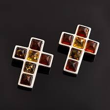 Купить <b>Кулон янтарь</b> Россия <b>крест</b> (<b>латунь</b> посеребр.) 2 см ...