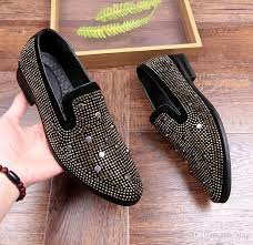 New gold toe and gold <b>crystal handmade men loafers</b> men fashion