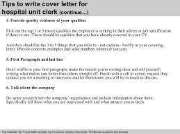 Unit Clerk Resume Samples   Reentrycorps Cover letter sample for hospital unit clerk