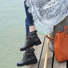 <b>WETKISS</b> 2019 Cool Rivets Shoe Buckles <b>Ankle</b> Boots Brand <b>Punk</b> ...