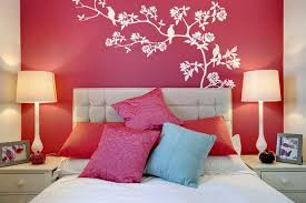 l simple bedroom ideas for teenage girls presenting red wall paint scheme with tree and bird art wall design plus beautiful drum shade table lamp beautiful design ideas coolest teenage girl