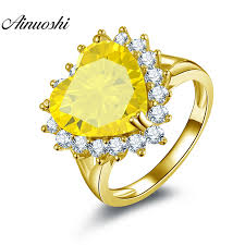 <b>AINUOSHI 10K Solid Yellow</b> Gold Heart Halo Ring 6ct Heart Cut ...