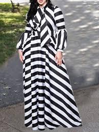 Black-White Striped Print Bow <b>Lantern</b> Long Sleeve <b>Plus Size</b> Work ...