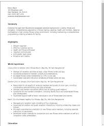resume templates gym receptionist receptionist sample resume