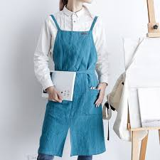 Simple Nordic Style Vent Aprons <b>4</b> Colors Cotton Linen Sleeveless ...