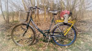 Велосипед с мотором от триммера, косилки - YouTube