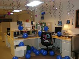 Office Largesize Cubicle Birthday Decorations On With Blue Baloons And F Ceiling Ornament