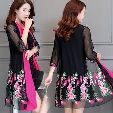<b>Ethnic</b> Embroidered Long Kimono Cardigan <b>Women</b> Casual ...