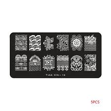Outdoorline <b>5pcs</b>/<b>set Flowers</b> Cartoon Nail Art Stamping Plates ...