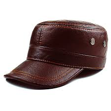 Autumn winter cowhide hat male flat cap <b>Leather Men's outdoor</b> ...