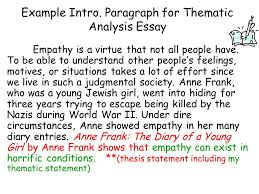 theme statements vs topics theme a lesson the reader learns from  paragraph for thematic analysis essay empathy is a virtue that not all people