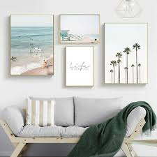 <b>Palm Tree</b> Sea Wall Art Canvas Poster <b>Nordic</b> Landscape Print ...