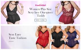 FeelinGirl <b>Women</b> Eyelash lace deep <b>V</b>-<b>Neck</b> Lingerie <b>S</b>-<b>XL</b> at ...