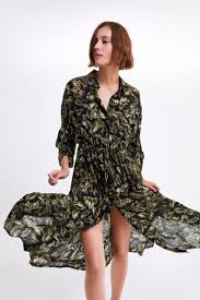 Long <b>leaf print</b> dress (With images)   <b>Womens</b> midi dresses, Leaves ...
