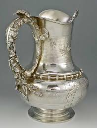 Gorham coin <b>silver</b> pitcher, with exceptional leaf form handle- c1862 ...