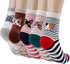 5 Pairs Women's Fun Socks <b>Cute Cat</b> Animals Funny Funky Novelty ...