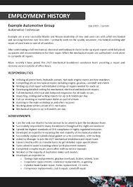 cv auto tech sample automotive technician resume