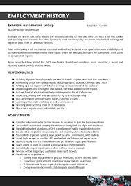 cv auto tech automotive mechanic resume sample
