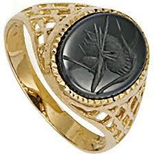 Hematite Intaglio Ring <b>Men's Solid</b> 9 Carat Yellow Gold <b>British</b> Made ...