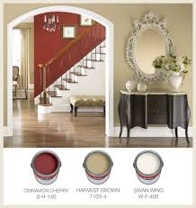 room paint red: warm traditional interior paint color palette with quotcinnamon cherryquot red quotharvest brown