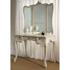 table mirror: furniture rectangle white wooden carving makeup table with four claw legs and drawers completed